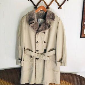 Vintage London Fog Faux Fur Lining Tan Trench Coat